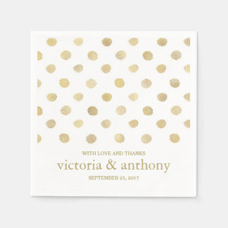 Modern vit & guld- gifta sig för polka dots pappersservett