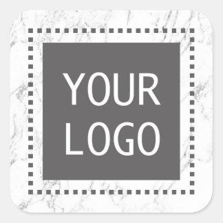 Modern vitmarmor för företags beställnings- fyrkantigt klistermärke