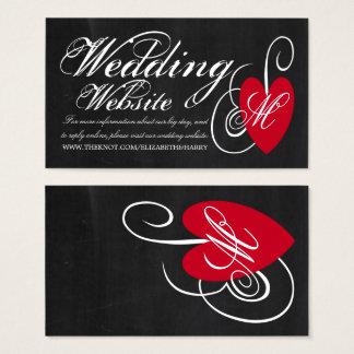 Modern Website för bröllop för svart Visitkort