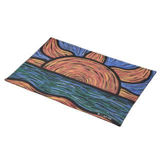 Moderna abstrakt strandsoluppgångorange och blått bordstablett