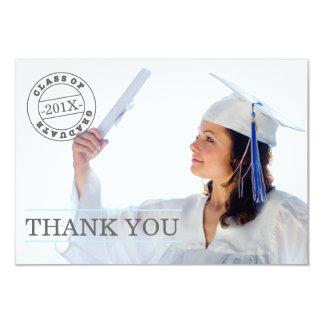 Moderna blått för tack | för frimärkefotostudenten personliga inbjudningskort