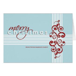 Moderna blått och rött god julkort kort