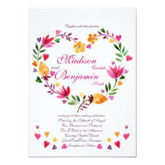 Moderna blom- hjärtabröllopinbjudningar 11,4 x 15,9 cm inbjudningskort