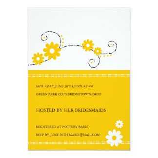 Moderna blom- inbjudningskort för möhippan - gult