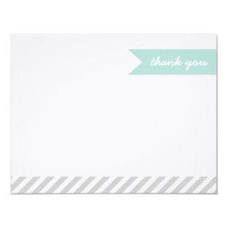 Moderna flagga för Mint & för grått & randtackkort 10,8 X 14 Cm Inbjudningskort