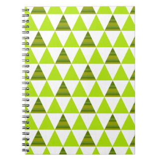 Moderna geometriska trianglar grönt & vitmönster anteckningsbok med spiral