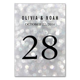 Moderna gråa Bokeh som gifta sig bordsnummerkortet