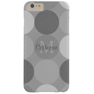 Moderna grått cirklar mönsterMonogramiphone case Barely There iPhone 6 Plus Skal