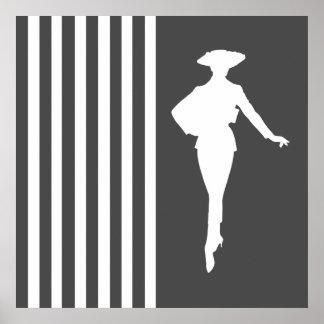 Moderna randar för kol med modesilhouetten poster