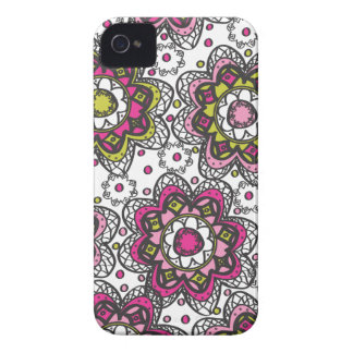 Moderna Retro HennaLookblommor iPhone 4 Case-Mate Fodral