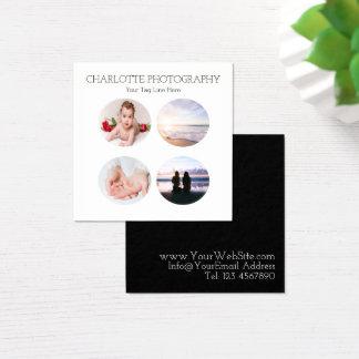 Moderna svartvita 4 fotograferar kvadrerar fyrkantigt visitkort