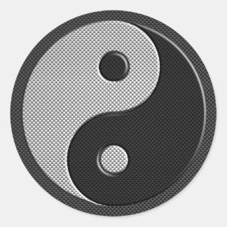 Moderna Yin Yang i stil för kolfibertryck Runt Klistermärke