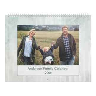 Modernt abstrakt vattenfärgfamiljfoto kalender