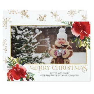 Modernt blom- julfotokort 12,7 x 17,8 cm inbjudningskort