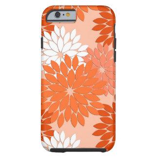 Modernt blom- Kimonotryck, korallorange på persika Tough iPhone 6 Skal