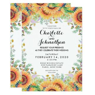Modernt blom- solrosvattenfärgbröllop 12,7 x 17,8 cm inbjudningskort