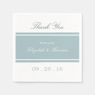 Modernt bröllop för ankaäggblått papper servetter
