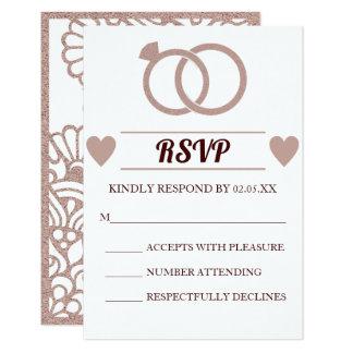 Modernt bröllop OSAkort för rosa guld- glitter 8,9 X 12,7 Cm Inbjudningskort