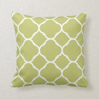 Modernt Chartreuse Quatrefoil mönster Kudde