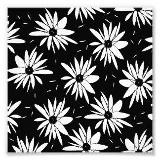 Modernt chic blom- svartvitt daisymönster fototryck