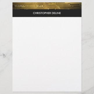 Modern Elegant Grey Gold Circuit Board Stripes
