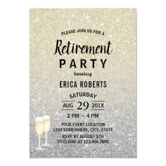 Modernt elfenben- & silverglitter för pension 12,7 x 17,8 cm inbjudningskort