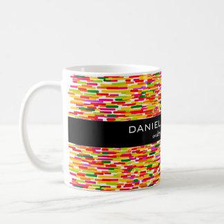 Modernt färgrikt inre märkes- brännmärka kaffemugg