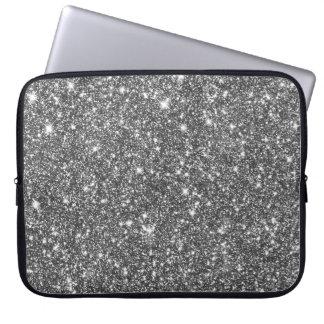 Modernt flickaktigt mönster för silverFauxglitter Laptop Sleeve