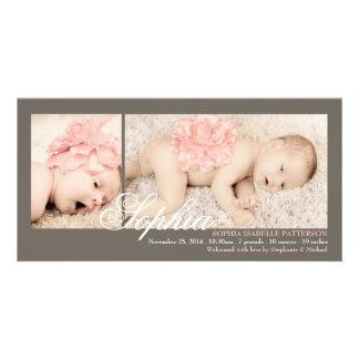 Modernt för flickafödelse för två foto meddelande fotokort