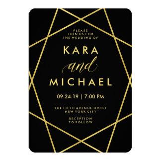Modernt geometriskt Fauxguld på svart bröllop 12,7 X 17,8 Cm Inbjudningskort