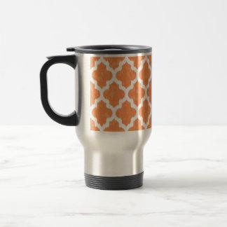 Modernt geometriskt för orange Ikat Quatrefoil Resemugg