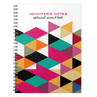 Modernt geometriskt mönster för färgrika trianglar anteckningsbok