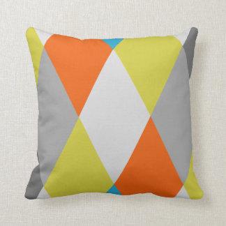 Modernt geometriskt mönster för gula gråa orange kudde