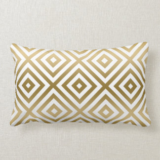 Modernt geometriskt mönster för guld och för vit lumbarkudde