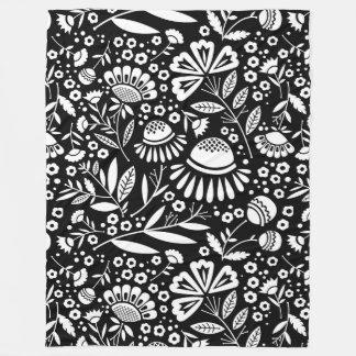 Modernt geometriskt trädgårds- blom- svartvitt fleecefilt