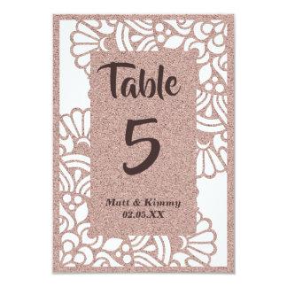 Modernt gifta sig bordsnummerkort för rosa guld- 8,9 x 12,7 cm inbjudningskort