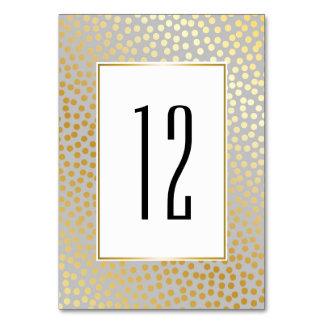 Modernt grå färg och guld för konfettipolka bordsnummer