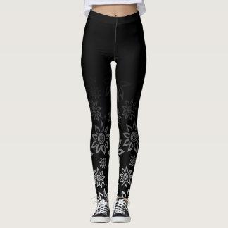Modernt grafiskt blommamönster för svart & för vit leggings