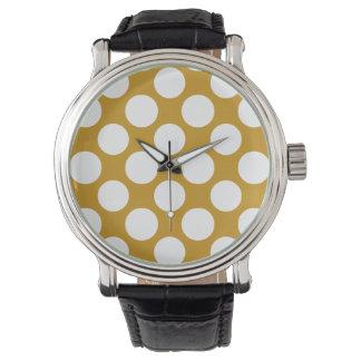 Modernt guld- vitpolka dotsmönster armbandsur