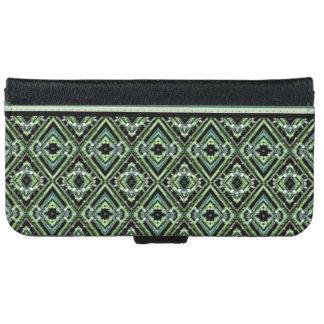 Modernt Harlequinmönster i svart, kricka och grönt Plånboksfodral För iPhone 6/6s
