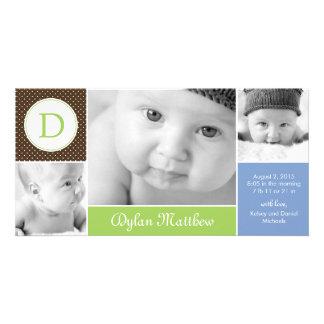 Modernt initialt pojkefödelsemeddelande fotokort mall