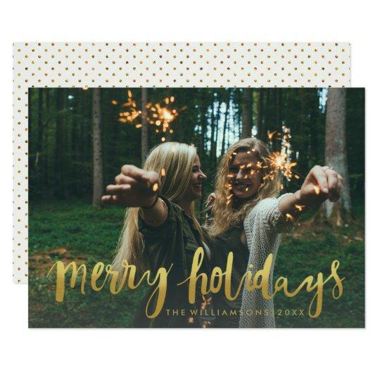 Modernt julfoto för guld- glad helgdagar 12,7 x 17,8 cm inbjudningskort