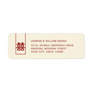 Modernt kinesiskt bröllop för högväxt röd dubbel returadress etikett