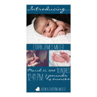 Modernt kort för foto för baby med fotokort