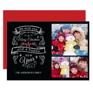 Modernt kort för foto för typografigod jul 3 12,7 x 17,8 cm inbjudningskort