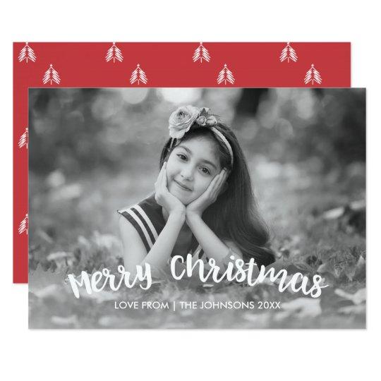 Modernt kort för julhelgdagfoto 12,7 x 17,8 cm inbjudningskort