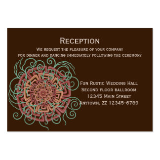 Modernt lantligt blom- bröllop för brun blomma set av breda visitkort