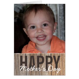 Modernt lantligt lyckligt mors dagfotokort hälsningskort