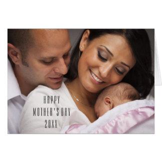 Modernt lyckligt mors dagfotokort hälsningskort