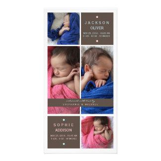 Modernt meddelande för födelse för flicka för twil fotokort